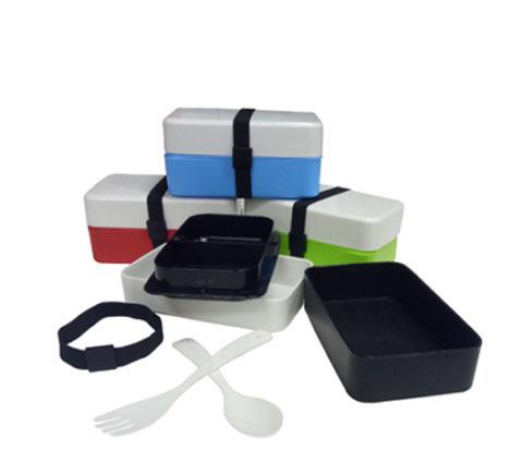 FG-162 2-Tier Plastic Lunch Box w/fork & spoon