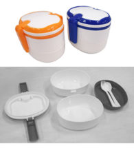 FG-250 Plastic 3 Tier 2 Tone Lunch Box With Fork And Spoon