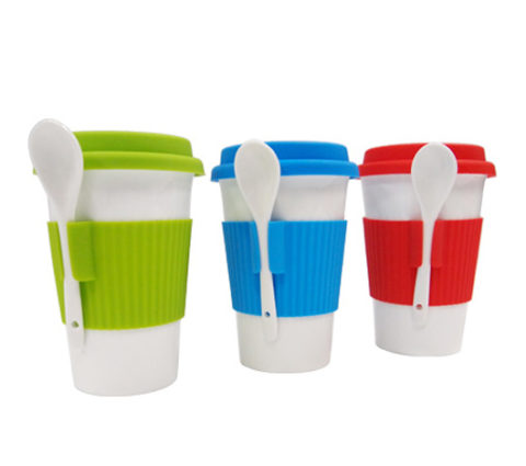 FG-252 Ceramic Tumbler Mug c/w Spoon n white box