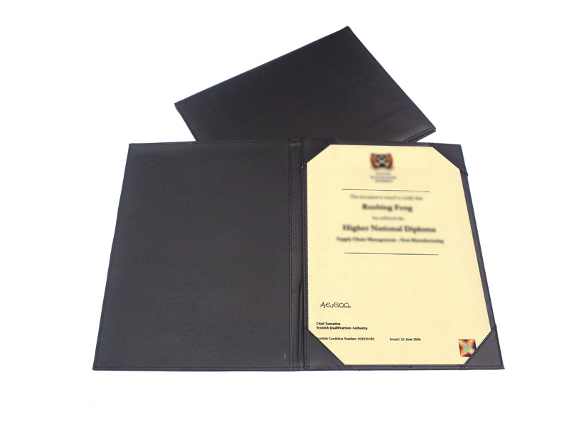 Fg 256b Single Sided Pu Certificate Holder Unique Customized