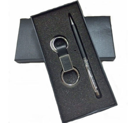 FG-315 PU Leather Keychain w/Crystal Metal Pen Set