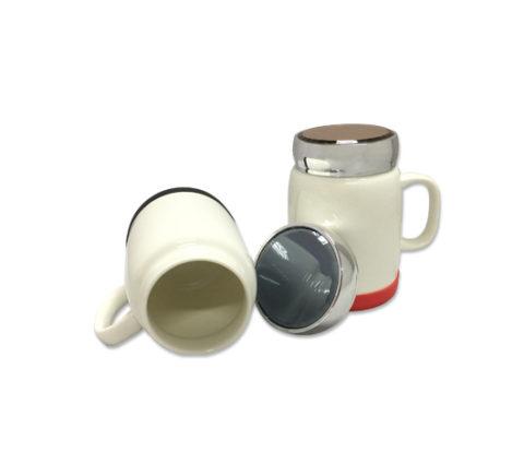 FG-385 400ml Porcelain Mug silver lid & silican base